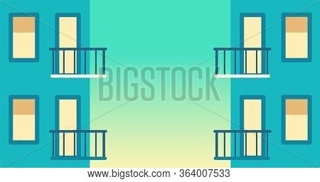 Balcony In Modern House In Sunset. Urban Skyscrapers. Vector Cartoon Illustration Of Home Facade Ele