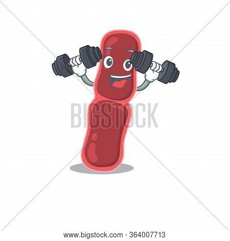 Mascot Design Of Smiling Fitness Exercise Bacillus Bacteria Lift Up Barbells