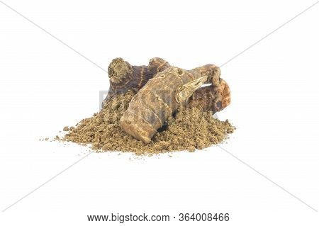 Galangal Root And Galanga Powder Isolated On White Background. Healthy Spice Concept (alpinia Offici