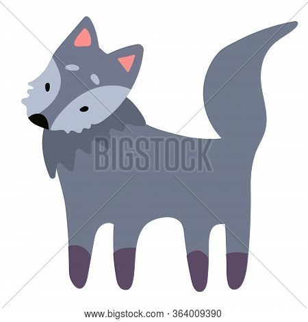 A Cute Prey Gray Wolf Stands And Looks Surprised In A Cartoon Flat Style. Vector Illustration Isolat