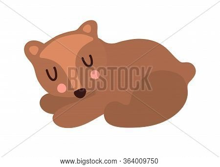 Little Cute Brown Grizzly Bear Is Sleeping Sweetly On A White Background Isolated. Vectron Clip-art,