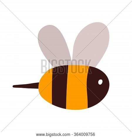 A Cute Yellow Bee In Black Stripes Is Flying. A Small Kind Insect With A Sting For The Logo Of Manuf