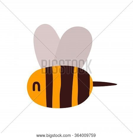 Cute Little Wasp, Bee, Bumblebee, Yellow Insect In Black Stripes With Cute Wings And A Sting. Vect C