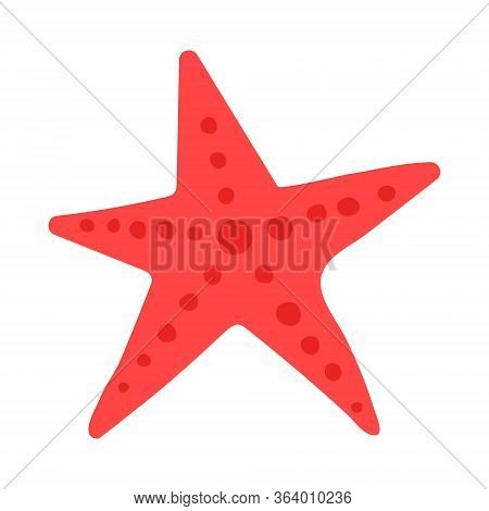 Five-pointed Sea Red Star From The Bottom Of The Deep Ocean Or Sea. Logo For Diving Club, Sea Party,