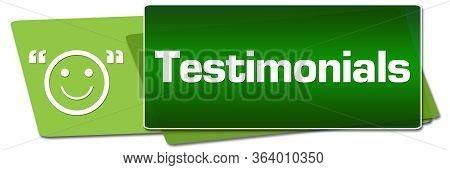Testimonials Text Written Over Green Horizontal Background.