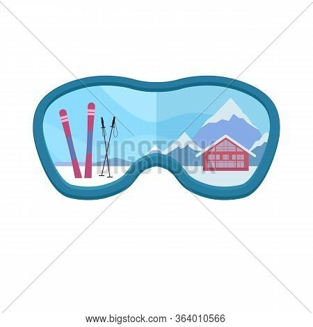 Ski Resort. Flat Ski Illustration On A Background Of Snowy Mountains In Glasses. Active Healthy Rest