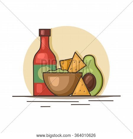 Mexican Food. Avocado Guacamole With Nachos Corn Chips And Spicy Sauce. Contour Illustration Of Nati