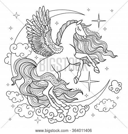 Unicorn With A Long Mane On The Background Of The Month. Black And White. Vector Illustration