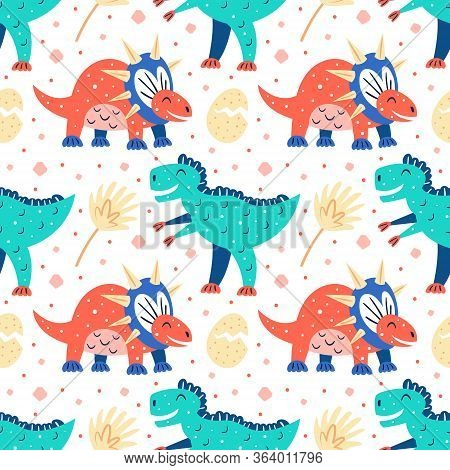 Set Of Little Cute Dinosaurs. Diplodocus, Pteranodon, Stegosaurus, Dino Eggs. Prehistoric Animals. J