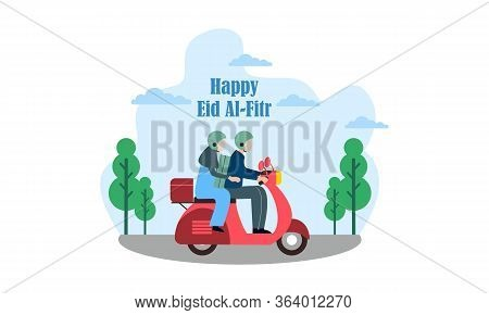 Happy Eid With Muslim Family Returning Home Riding A Motorcycle Illustration
