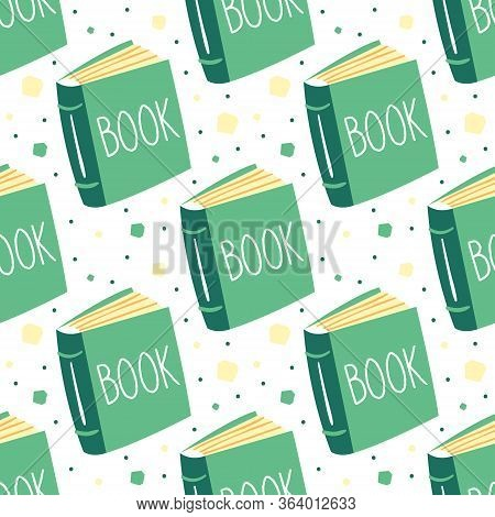 Little Cute Green Novel Book. Reading. Education Item. Literature. Lifestyle. Publish. Flat Cartoon