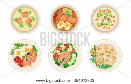 Dishes With Salmon Or Trout Fish Garnished With Greenery Vector Set