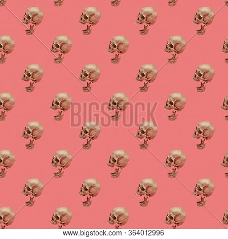 Skull With Jaw On A Pink Seamless Pattern. A Human Skull Replica With Separated Jaw Located In Rows