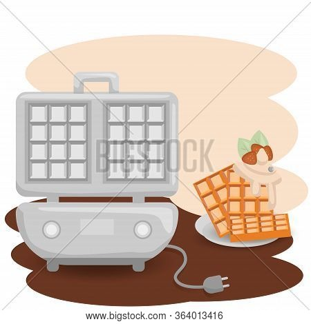 Waffle Cooker Icon. Flat Illustration Of Waffle Cooker Vector Icon For Web Design