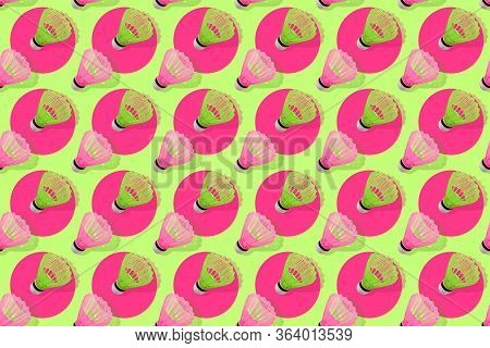 Vivid Seamless Pattern With Badminton Shuttlecocks. Pink And Green Badminton Shuttlecocks On Green B