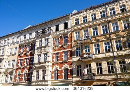 The Facades Of Some Renovated Old Apartment Buildings Seen In Berlin, Germany
