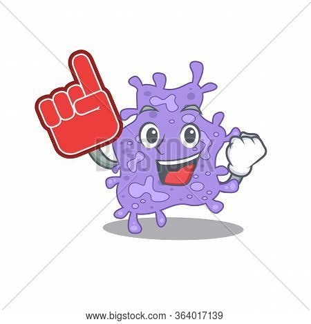 Staphylococcus Aureus Presented In Cartoon Character Design With Foam Finger
