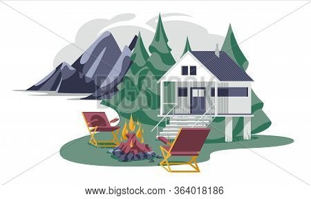 Rest House With Bonfire And Chairs On The Mountain Forest Place Isolated White Background