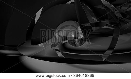 Abstract Black Cgi Background, Shiny Dark Intersected Helix Pattern, 3d Rendering Illustration
