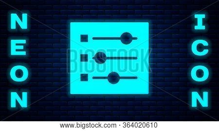 Glowing Neon Car Settings Icon Isolated On Brick Wall Background. Auto Mechanic Service. Repair Serv