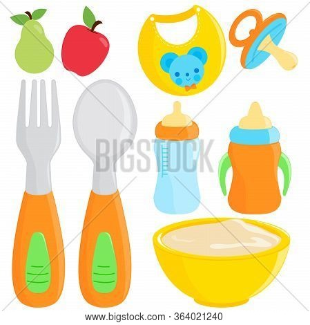 Vector Illustration Collection Of Fork And Spoon, Milk Bottle, Dishware, And Bib For Baby Food.