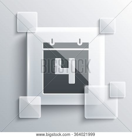 Grey Day Calendar With Date July 4 Icon Isolated On Grey Background. Usa Independence Day. 4th Of Ju