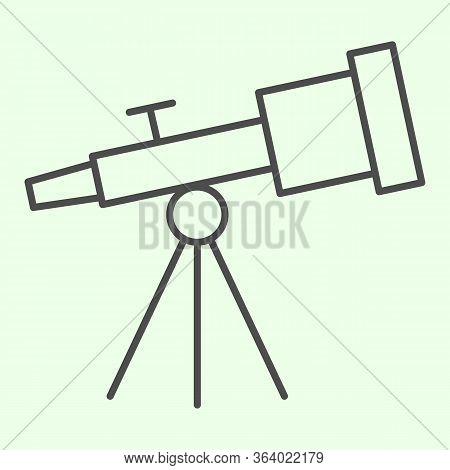 Telescope Thin Line Icon. Astronomy Telescopes Observe Tool Outline Style Pictogram On White Backgro