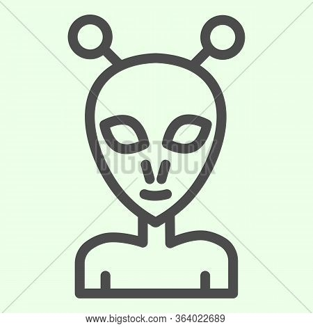 Alien Line Icon. Extraterrestrial Foreigner With Oval Face And Large Eyes Outline Style Pictogram On