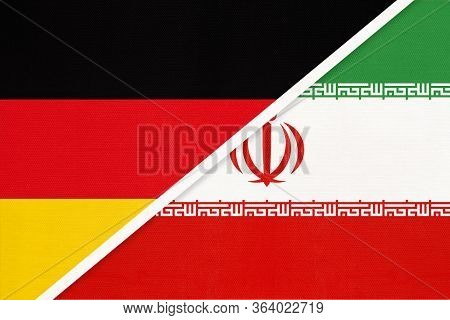Federal Republic Of Germany Vs Islamic Republic Of Iran Or Persia, Symbol Of Two National Flags From