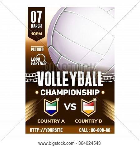 Volleyball Sport World Championship Poster Vector. Volleyball Gaming Ball On Announcement Promotion