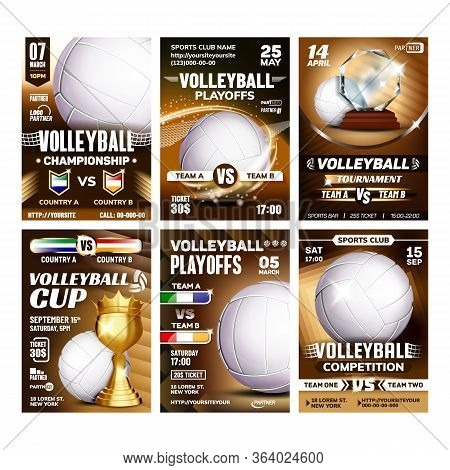 Volleyball Sport Event Flyer Posters Set Vector. Volleyball Ball And Golden Cup Award Trophy. Announ