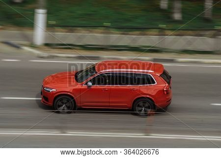 Moscow , Russia - April 30, 2020: Red Volvo Xc90 On The City Road. Fast Moving Car On Moscow Streets