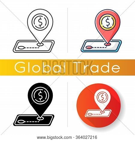 Tariffs Icon. Import And Export Tax, Foreign Trading Regulation. Trade Barrier, International Commer