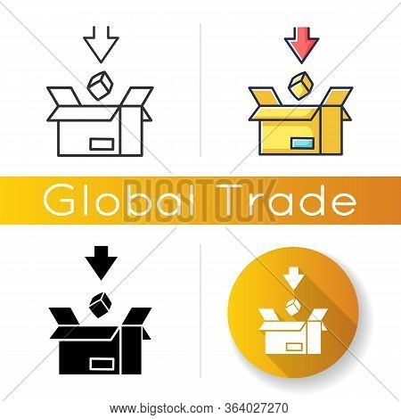 Import Icon. Commodity In Cardboard Box. Logistics, Mail And Cargo Delivery Service. Commerce, Inter