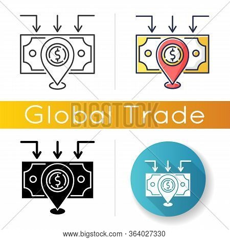 Domestic Trade Icon. Wholesale And Retail Trading. Domestic Market, Local Goods Producing And Sellin