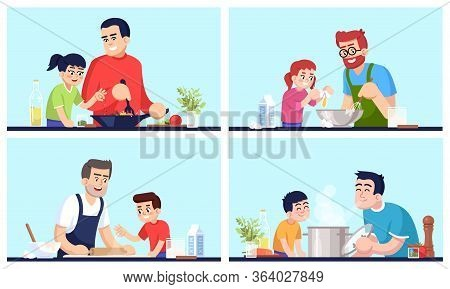 Cooking People, Fathers And Children With Food Flat Vector Illustrations Set. Daddies And Kids Prepa