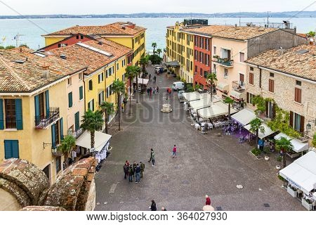 Sirmione, Italy, October 01, 2015 : View Of The City And Piazza Castello Square From The Height Of T