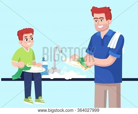 Father And Son Washing Up Together Flat Rgb Color Vector Illustration. Male Parent And Child Washing