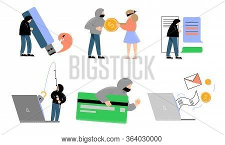 Hackers Committing Cyber Crimes In Electronic Technologies And Payments Vector Illustration