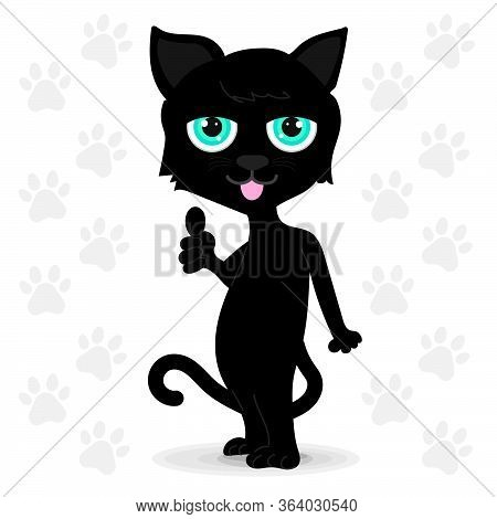 Black Cat With Blue Eyes Standing. It Made Wonderfully Symbolic Hands. White Background With Gray Ca