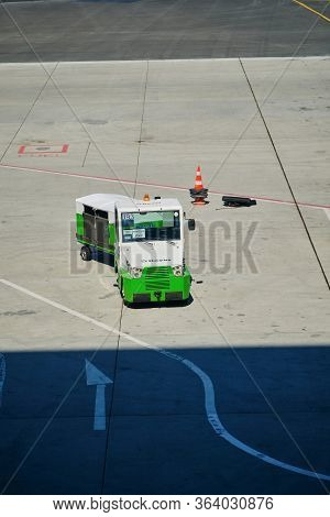 Istanbul / Turkey - September 14, 2019: Airport Baggage Tractor At The New Istanbul Airport, Istanbu
