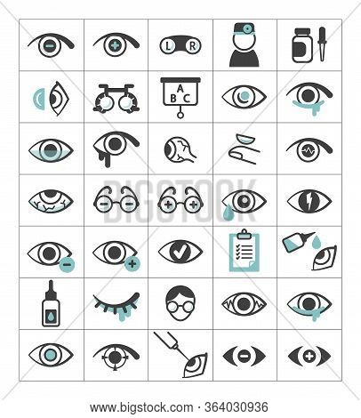 Ophthalmic Set Icons. Eyes With Impaired Vision, Optical Selection Glasses, Plus, Minus, Optometric