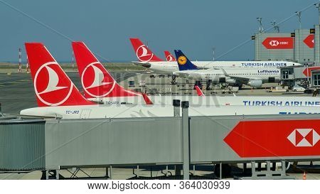 Planes Docked To The Gates At New Istanbul Airport Istanbul Havalimani In Turkey