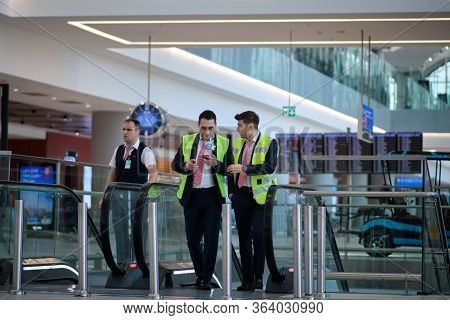 Istanbul / Turkey - September 14, 2019: Airport Staff At New Istanbul Airport, Istanbul Havalimani I