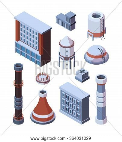 Industrial Factory Building Set. Industrial Isometric Hulls With Brown Pipe, Concrete And Iron Stora