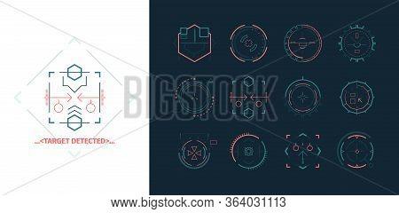 Sight Detect Target Set. Futuristic Neon Accurate Crosshair Sight, Indicator Firing Range, Focus Of