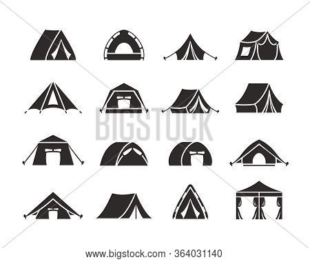Camping Tent Silhouette Set. Tourist Tent With A Canopy, Reinforced With A Rope With A Peg, The Shap