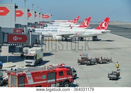 Turkish Airlines Planes Docked To The Gates At New Istanbul Airport Istanbul Havalimani