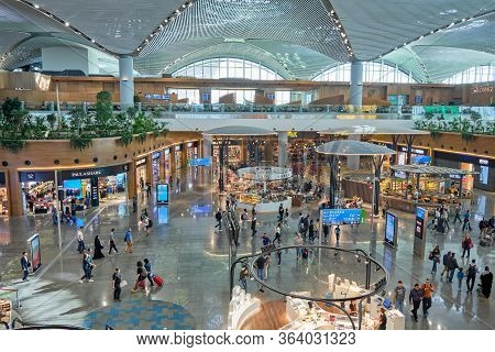 Duty Free Shops And Food Court At New Istanbul Airport's International Departures Terminal, Istanbul