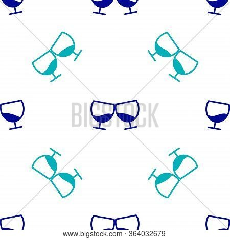 Blue Glass Of Cognac Or Brandy Icon Isolated Seamless Pattern On White Background. Vector Illustrati